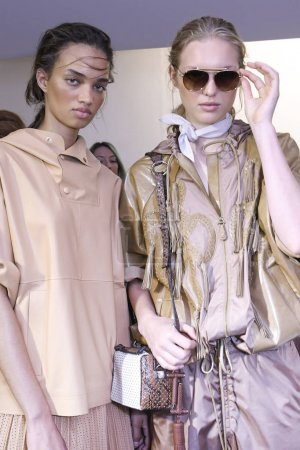 MILAN, ITALY - SEPTEMBER 22: Models are seen backstage ahead of the Tods show during Milan Fashion Week Spring/Summer 2018 on September 22, 2017 in Milan, Italy.