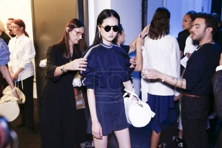 MILAN, ITALY - SEPTEMBER 22: Models are seen backstage ahead of the Sportmax show during Milan Fashion Week Spring/Summer 2018 on September 22, 2017 in Milan, Italy.