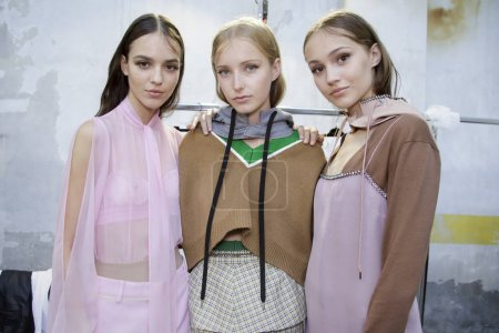 MILAN, ITALY - SEPTEMBER 20: Models are seen backstage ahead of the N.21 show during Milan Fashion Week Spring/Summer 2018on September 20, 2017 in Milan, Italy.