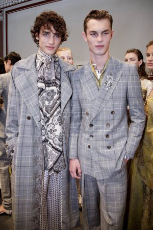 MILAN, ITALY - SEPTEMBER 22: Models are seen backstage ahead of the Etro show during Milan Fashion Week Spring/Summer 2018 on September 22, 2017 in Milan, Italy.