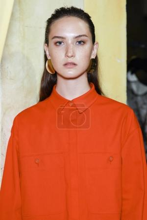 MILAN, ITALY - SEPTEMBER 23: A model is seen ahead backstage of the Albino Teodoro show during Milan Fashion Week Spring/Summer 2018 on September 23, 2017 in Milan, Italy.