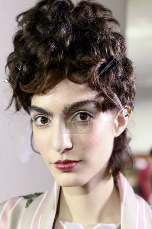 MILAN, ITALY - SEPTEMBER 23: A model is seen backstage ahead of the Antonio Marras show during Milan Fashion Week Spring/Summer 2018 on September 23, 2017 in Milan, Italy.