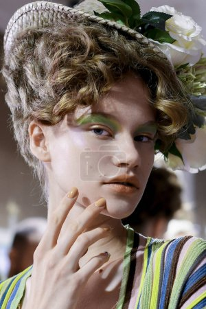 MILAN, ITALY - SEPTEMBER 23: A model is seen backstage ahead of the Antonio Marras show during Milan Fashion Week Spring/Summer 2018on September 23, 2017 in Milan, Italy.