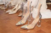 NEW YORK, NY - APRIL 13: Shoes are seen backstage before the Justin Alexander Spring 2019  Bridal Fashion show on April 13, 2018 in New York City.