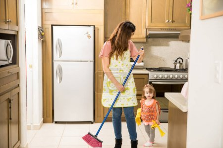 Family doing domestic chores