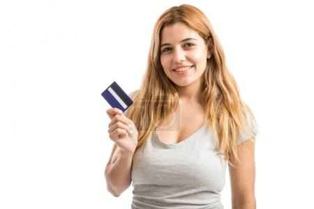 Beautiful woman with a credit card