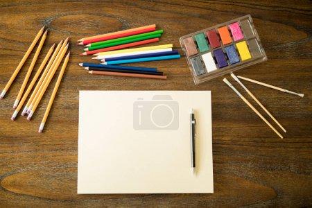 Drawing tools set on artist desk