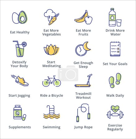 Illustration for This set contains healthy lifestyle icons that can be used for designing and developing websites, as well as printed materials and presentations. - Royalty Free Image