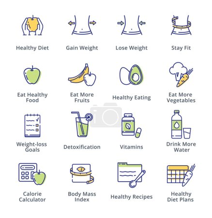 Illustration for This set contains dieting icons that can be used for designing and developing websites, as well as printed materials and presentations. - Royalty Free Image