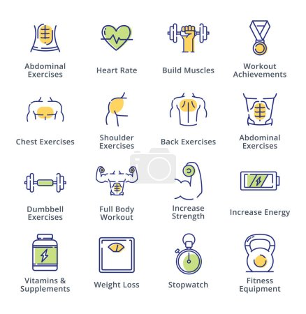 Illustration for This set contains workout icons that can be used for designing and developing websites, as well as printed materials and presentations. - Royalty Free Image