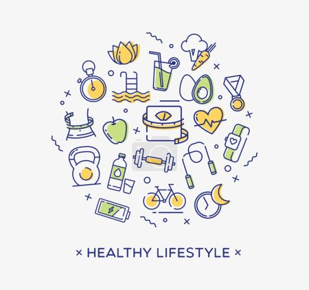 Illustration for Healthy lifestyle conceptual image perfect for use in website design, presentations, infographics etc. - Royalty Free Image