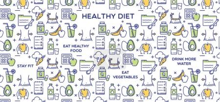 Illustration for Healthy diet vector illustration, fitness and nutrition. - Royalty Free Image