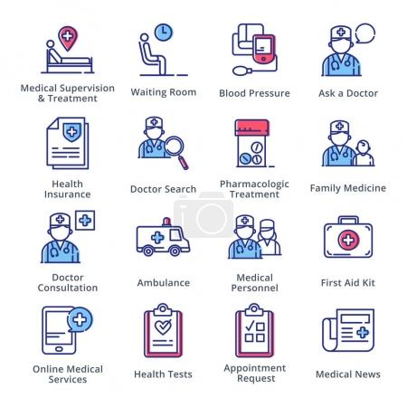 Illustration for This set contains medical and health care icons that can be used for designing and developing websites, as well as printed materials and presentations. - Royalty Free Image