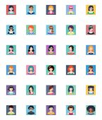 This set contains 30 women avatars icons that can be used for designing and developing websites as well as printed materials and presentations
