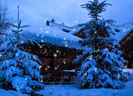 A fairy-tale house in the woods amid the snow-covered fir trees