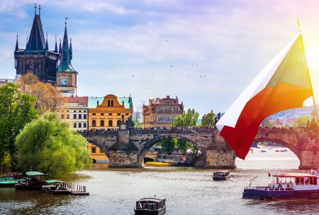 famous Charles bridge with historical sights