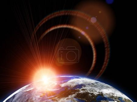 Photo for Beautiful earth in space, with flush of sun and stars. Some elements of this image furnished by NASA - Royalty Free Image