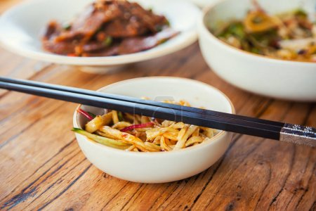 Photo for Stir-fried chinese noodles with beef vegetables and beansprouts - Royalty Free Image