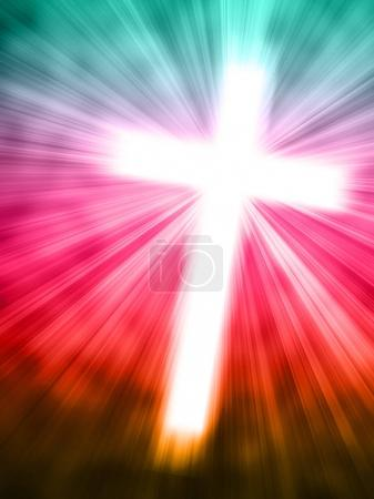 Abstract background with glowing cross