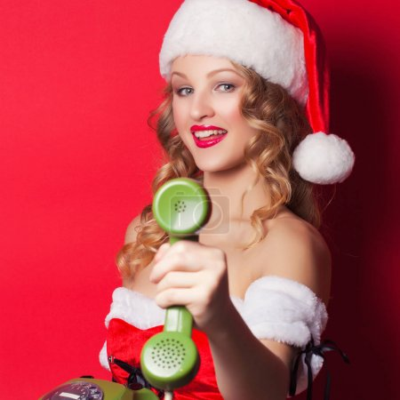 young woman wearing Santa Claus