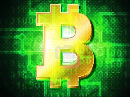 Bitcoin on  abstract background