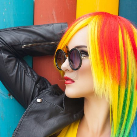 woman wearing color wig