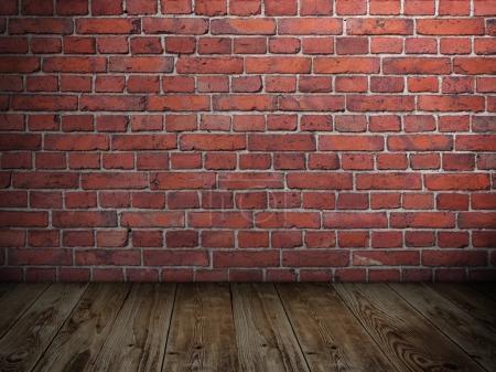 Foto de Espacio en blanco de grunge de stonewall con focos y piso de madera - Imagen libre de derechos