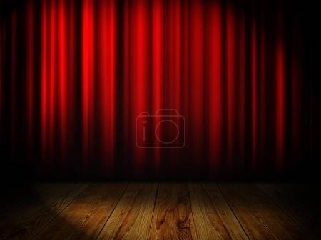 Photo pour Rideau rouge avec place pour le texte - image libre de droit