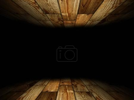 wooden room with place