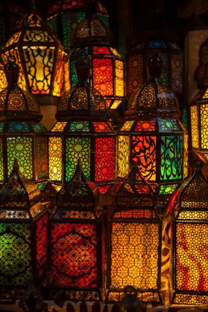 lighting with colors on muslim style's lantern shining