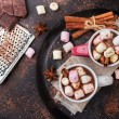 Hot chocolate with marshmallows and spices on grunge dark table. Selective focus, tasty holidays concept. Drink for fall and winter. Top view overhead flat lay