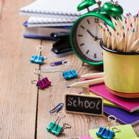 Photo for Business, education, office still life concept. Accessories, supplies, mug with pencils on rustic wooden table - Royalty Free Image