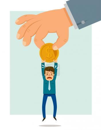 Illustration pour Une grosse main prenant une pièce d'un petit homme. Concept selon lequel les autorités prennent de l'argent des citoyens . - image libre de droit