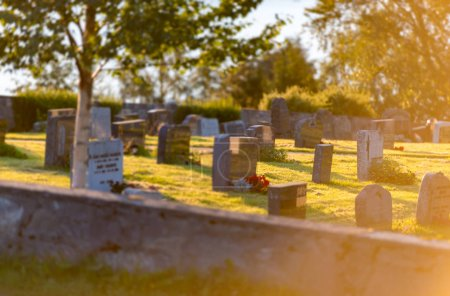 Cemetery in Norway on beautiful sunny day