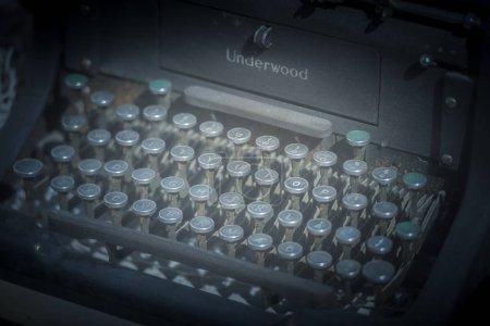 Detailed view of old manual Underwood typewriter.