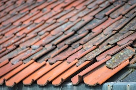 Old stone tiled roof in Norway, Europe