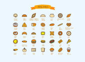 Bakery products Fast food Vector set cookery icons