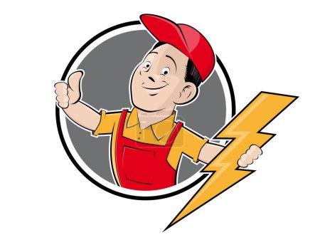Illustration pour Signe de compagnie électrique dans le style rétro - image libre de droit
