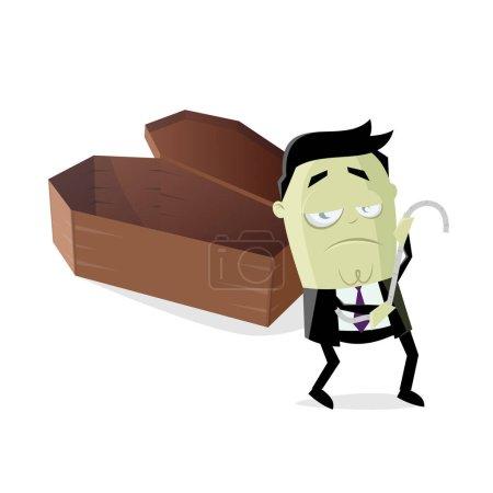 Illustration pour Dessin animé drôle d'un croque-mort prenant des mesures - image libre de droit