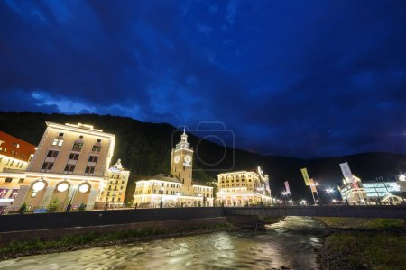 Night at the Rosa Khutor. River Mzemta. Sochi, Russia - July 21,