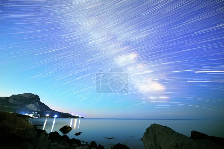 Milky Way. Stars in the form of lines. South Crimea. From Time L