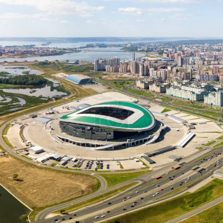 Russia, Kazan - August 19, 2017: Kazan Arena Stadium. Venue 2018 FIFA World Cup in Russia  and Confederations Cup.  Removed from the drone.