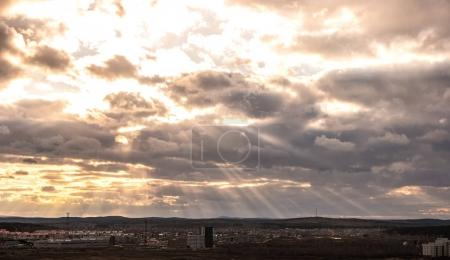 Evening clouds over the suburbs of Yekaterinburg, Russia. SunSet