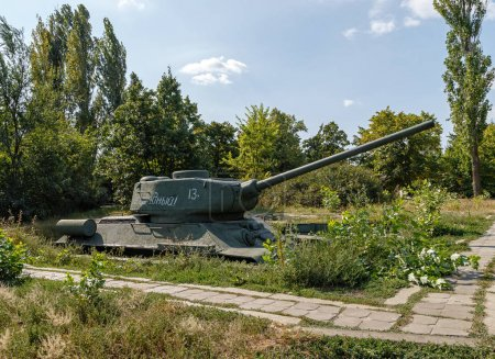 Russia, Saratov - August 27, 2017: The tank in the trenches. Vic