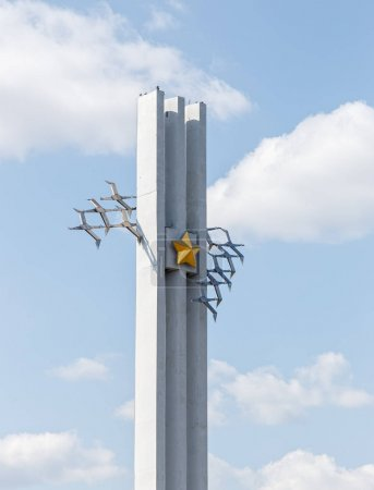 Russia, Saratov - August 27, 2017: The Monument - Cranes. Victor