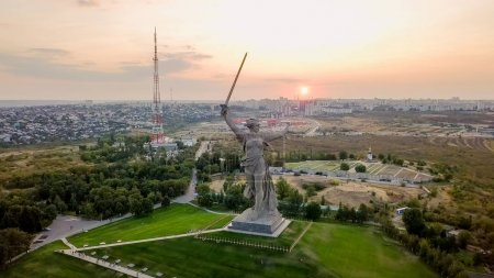 In the light of the setting sun. Sculpture The Motherland Calls! - the compositional center of the monument-ensemble to the Heroes of the Battle of Stalingrad on the Mamayev Kurgan! Volgograd, Russia