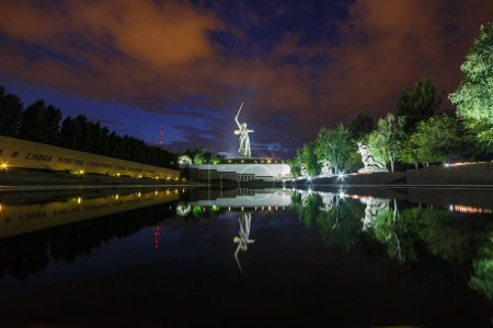 Russia, Volgograd - August 28, 2017: Sunset. Sculpture Motherlan