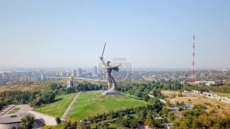 Sculpture The Motherland Calls! - compositional center of  monument-ensemble to Heroes of Battle of Stalingrad on Mamayev Kurgan. Early morning. Volgograd, Russia