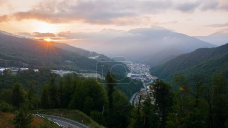 Sunset in the mountains. Rosa Khutor, Sochi, Russia