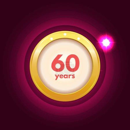 Illustration pour Anniversaire 60 ans icône de célébration - image libre de droit